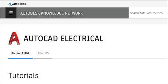 AutoCAD Electrical Tutorials in Autodesk Knowledge Network