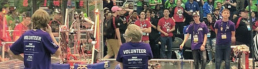 Students and educators in FIRST robotics competition