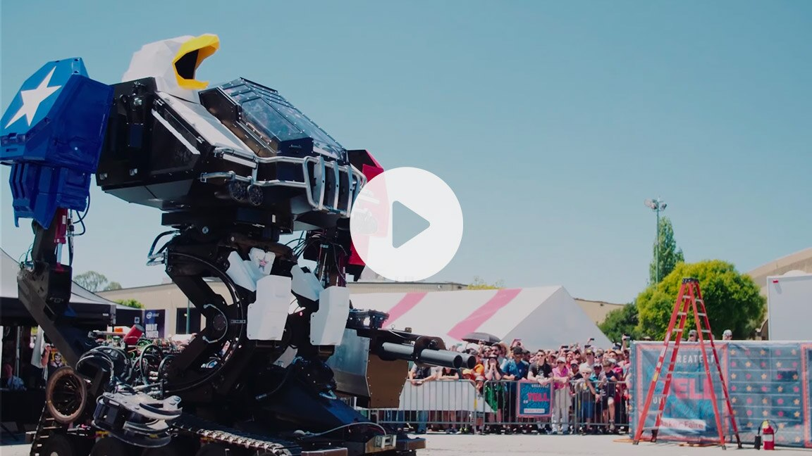 Giant bald eagle robot
