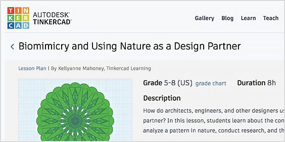 Webpage with Tinkercad lesson plans