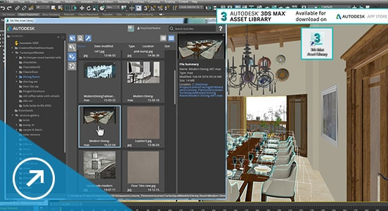 3ds Max software asset library