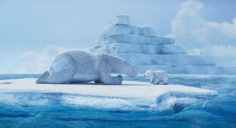 CG mom and cub polar bears on an ice cap