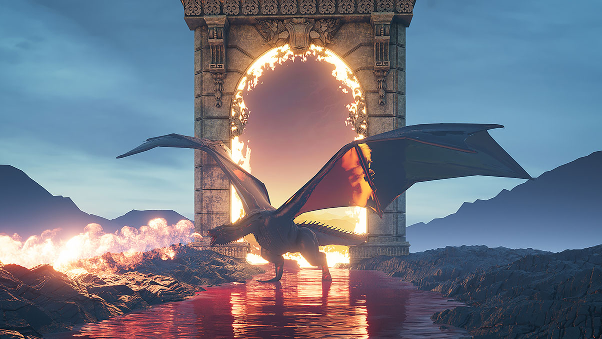 Dragon blowing fire in front of fiery archway