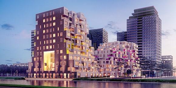Building with experimental, quasi random accumulation of volumes and balconies.