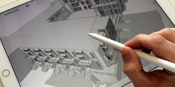 Sketch in 3D, anywhere, and design on an iPad with clients, on site, or anywhere inspiration strikes