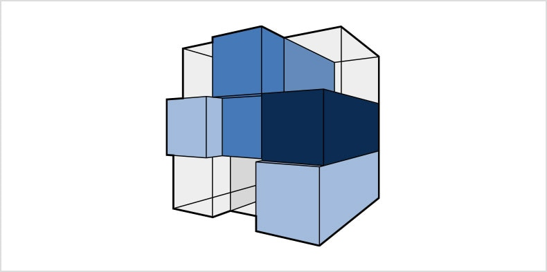 서로의 위에 쌓인 여러 파란색 및 투명 큐브의 2D 모델.