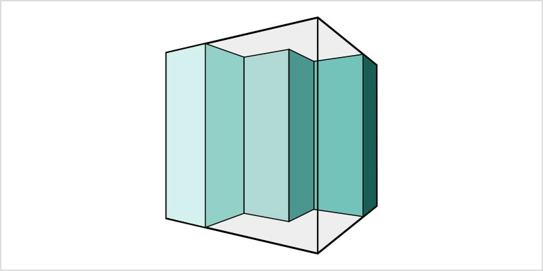 A 2D drawing of a transparent cube with turquoise rectangle cutouts inside of it.