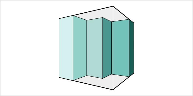 안에 청록색 사각형 절단 부분이 있는 투명 큐브의 2D 도면.