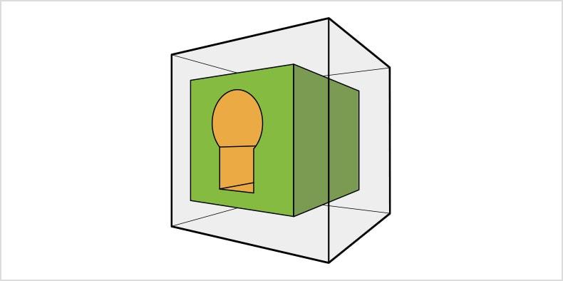 큰 투명 큐브 안에 있고 노란색 절단 부분이 안에 있는 초록색 큐브의 2D 도면.