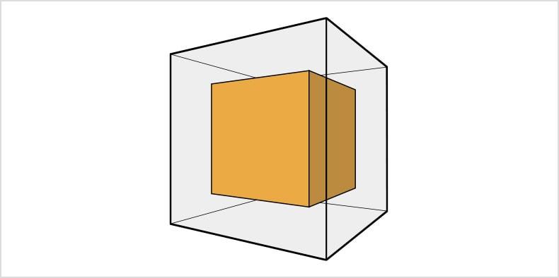 A 2D model of a yellow cub insidie a larger transparent cube.