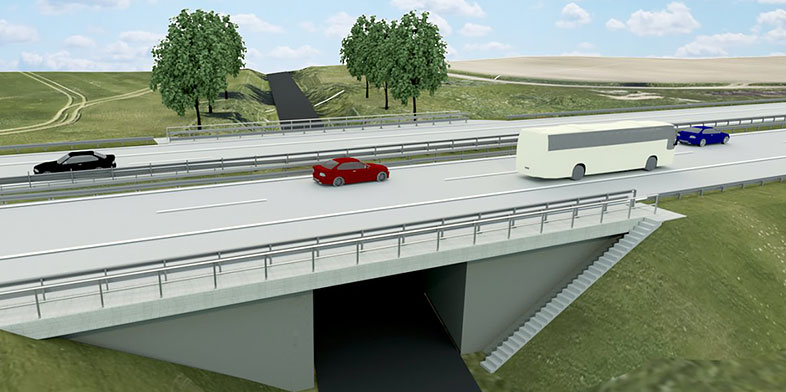 Autobahn을 달리는 자동차의 3D 모델.