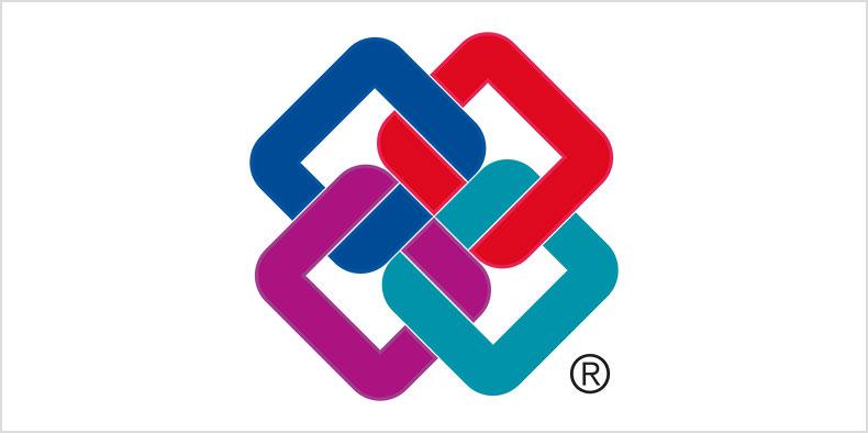 서로 뒤얽힌 4가지 색상 정사각형의 2D 도면.
