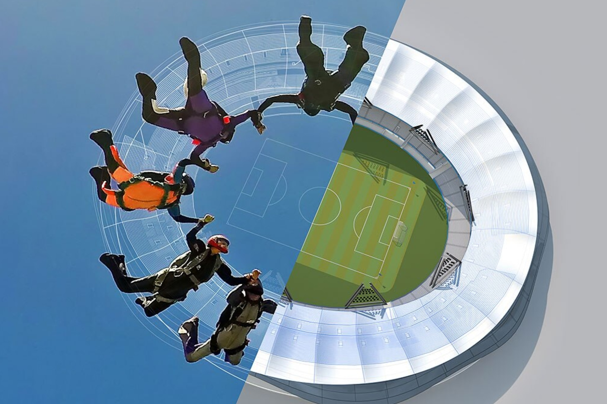 Eine Gruppe von fünf Personen beim Fallschirmsprung in ein Fußballstadion.