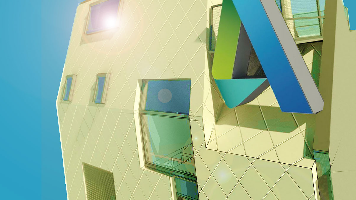 2D image of a constructed building with windows and the Autodesk logo.