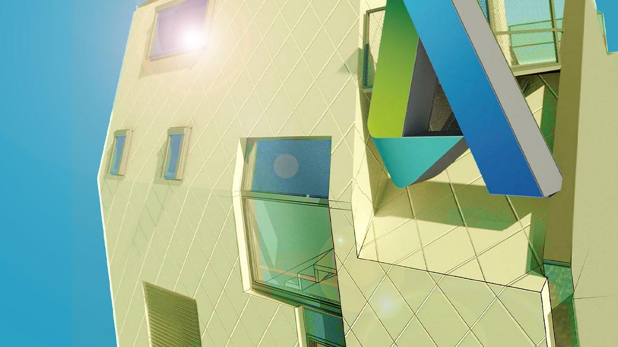 창 및 Autodesk 로고가 있는 건물의 2D 이미지.