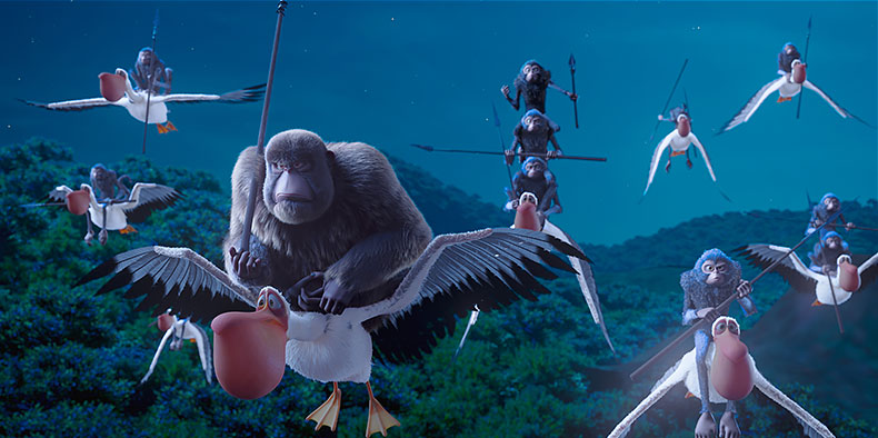 Animated monkeys with spears flying on pelicans at night