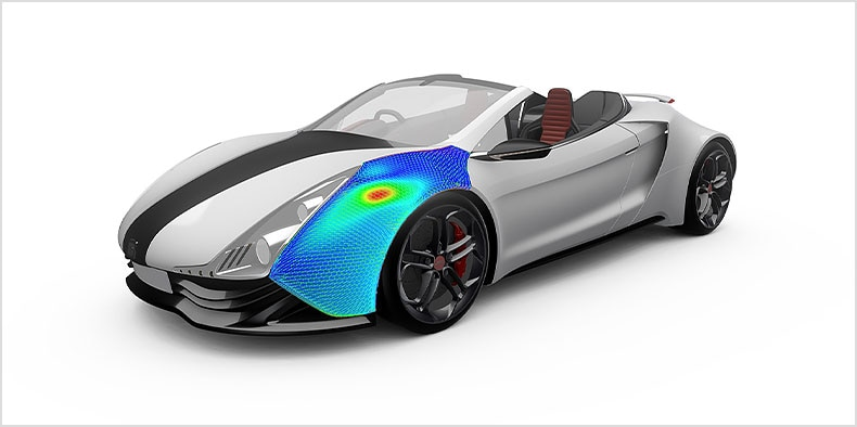 A 3D model of a white sports convertible with infrared technology.