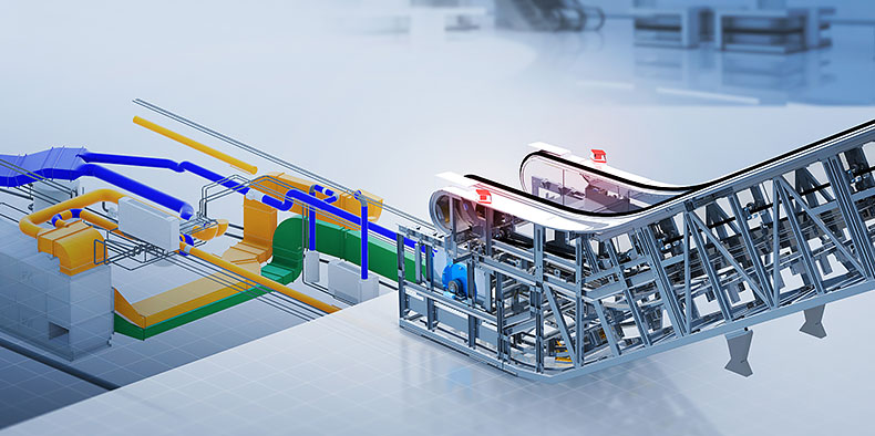 A industrial conveyor belt model with integrated vents and pipes.