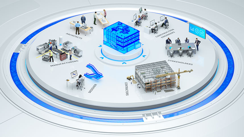 A 3D graphic showing collaborations within building products manufacturing and BIM