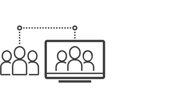 Icon of people inside and outside a computer screen
