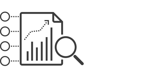 Icon of magnified view of spreadsheet bar chart data