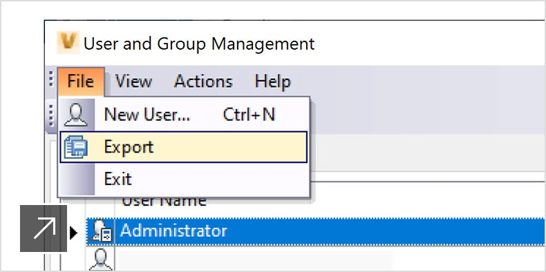 Vault interface displaying how to view and export information