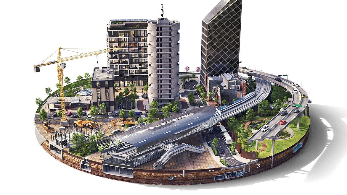 Round urban cityscape rendering with construction sites, skyscrapers, roads, cars, trains, and other infrastructure