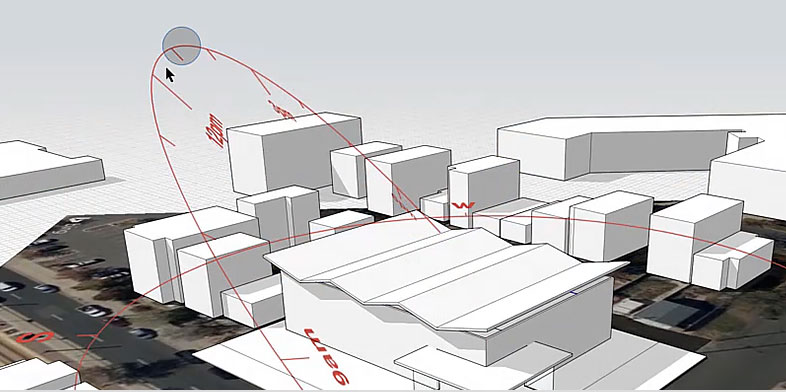 A 3D, simple-shape rendering of a complex of commercial building
