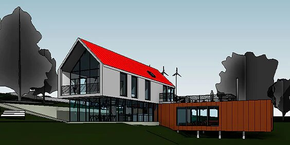 A computer-generated model of a multi-level home with a red roof