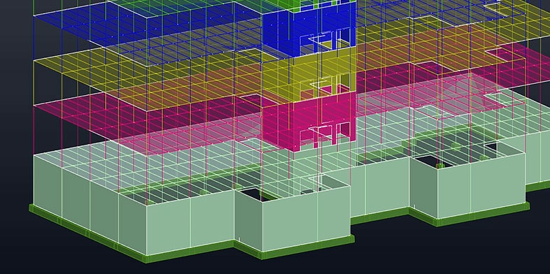 A 3D rendering of a multilevel building with each level represented as a different color