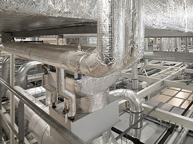 Close up view of intricate mechanical ductwork