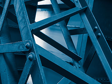 Close up view of blue structural steel connections
