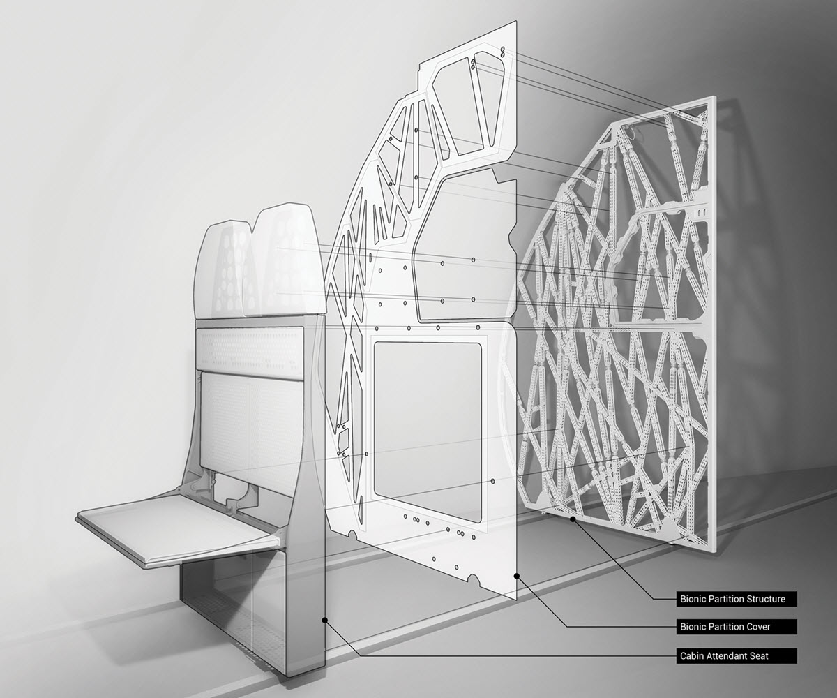 Lighweight bionic partition from Airbus