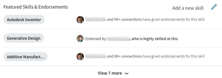 Example of how to improve your LinkedIn profile with skills and endorsements