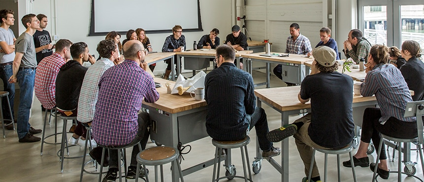 Pier 9 residency team in discussion