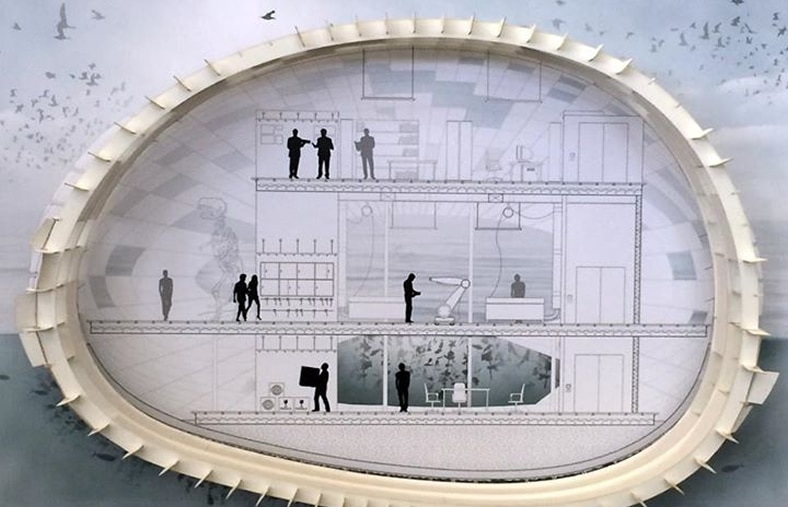 Interior view of floating workshop design developed for the Pier 9 workshop by CCA students