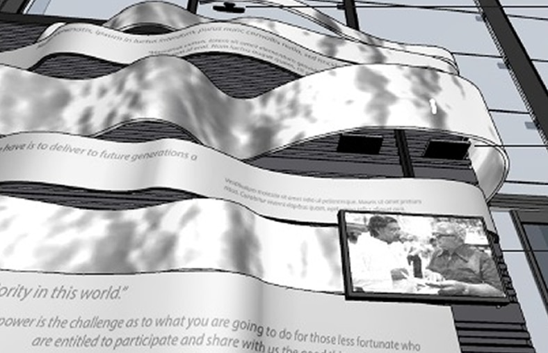 Concept for the James R. Herman Memorial by Floating Point Collective, who worked with Autodesk Pier 9 to develop this tribute
