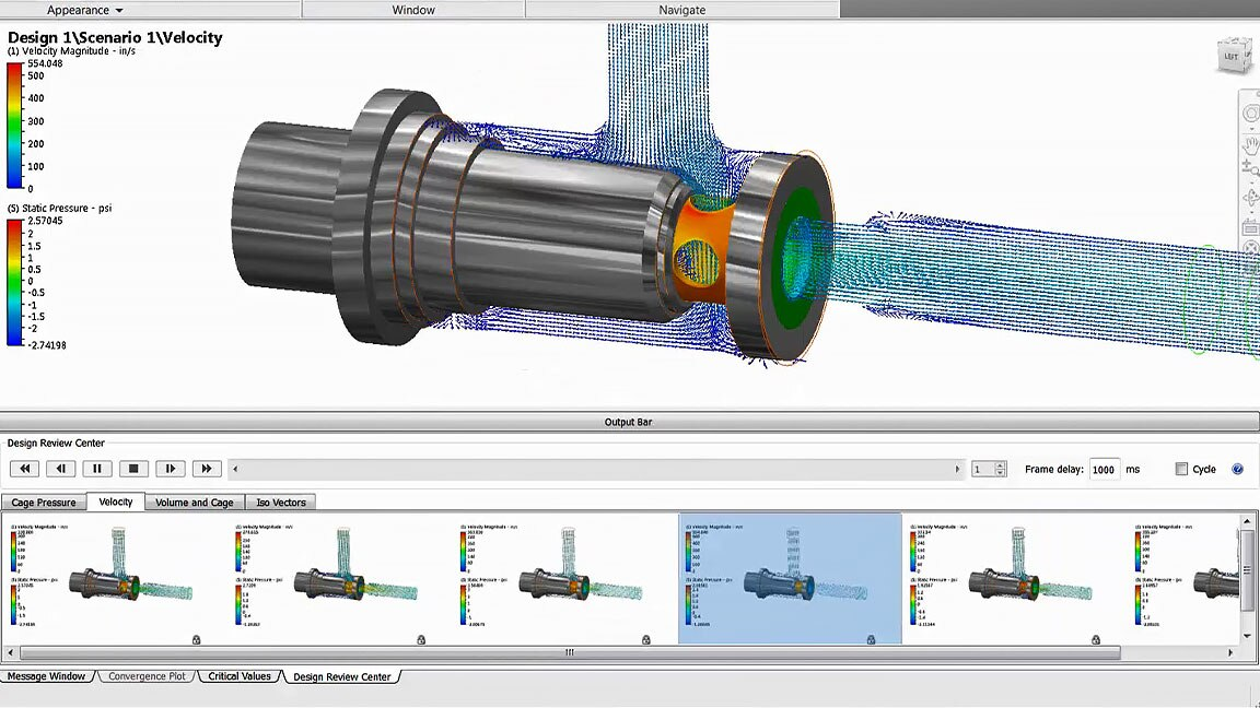 Autodesk CFD design study environment that visualizes fluid flow results