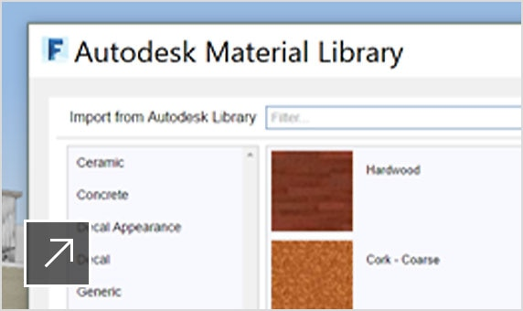 A menu of wood materials inside the Autodesk Material Library