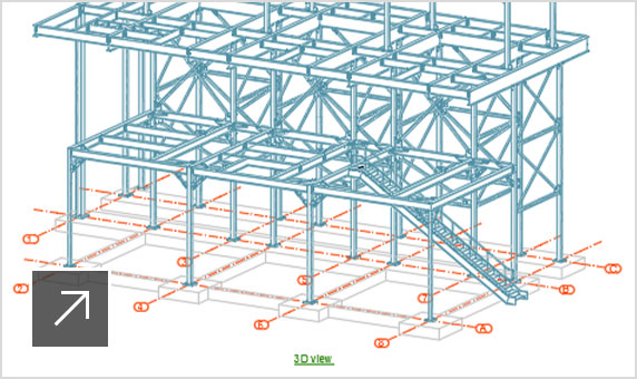 Overview drawing of a steel structure with 3D and 2D views labelled and dimensioned