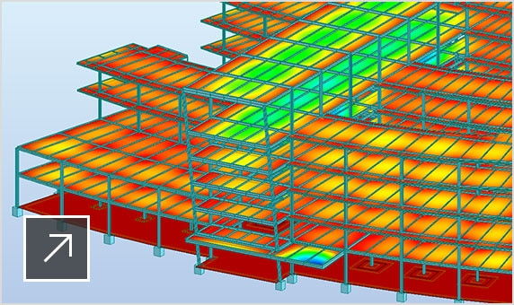 3D model of a steel structure calculated and optimized in Robot Structural Analysis Professional