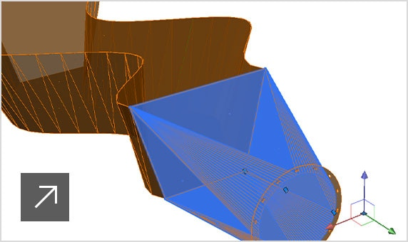 Image of a 3D folded element shown as unfolded on the right of the picture
