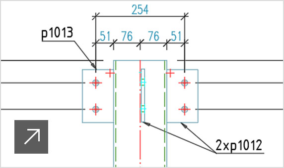 Image of assembly drawings automatically created from the 3D model for steel fabrication