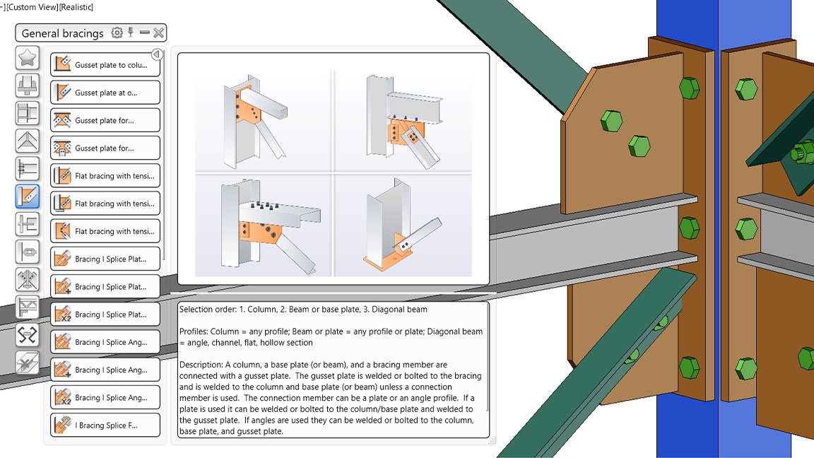 Library of parametric steel connections