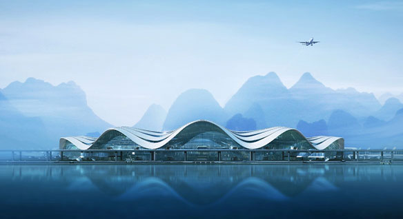 Video: Animation of new airport terminal at China's Guilin Airport showing how smart steel detailing reduces labor