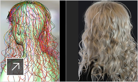 User interface of Maya with a work-in-progress and completed image of the back of a blond woman's wavy hair in Arnold RenderView