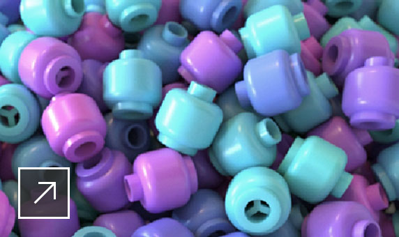 User interface of Maya featuring a black-and-white image of beads and the other in color with pink, blue and purple beads