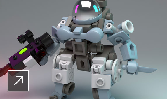 User interface of Maya featuring a lego-like 3D robot holding a gun and knife in Arnold RenderView