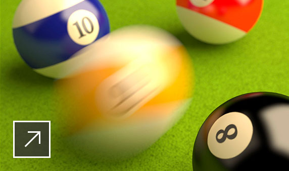 User interface of Maya with 2D and 3D images of five pool balls with a blurry ball in the 3D image in Arnold RenderView