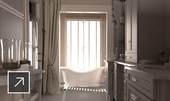 Image of a white bathroom with soaking tub in front of tall windows and sunlight streaming in